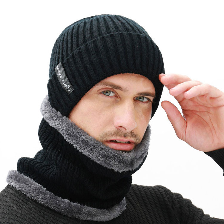 Women Beanies Hats Scarf Set Winter Hats For Men Women Warm Wool Ribbed Knitted Cap And Scarves Suit Male Black Bonnet Skullies