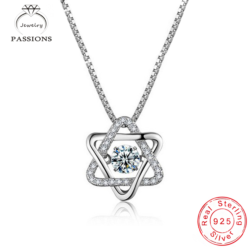 Hot Sale 925 Sterling Silver Six-pointed Star Necklace Clavicle Necklace Female Charm Fine jewelry For Women Birthday Present