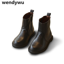 WENDYWU autumn winter shoes boots children mid calf boots for boys brand boots baby girls fashion genuine leather boots