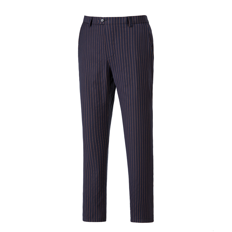 Men s Suit Pants Flat Front Straight Stripe Wool Business Straight Causal Pants Male Trousers Office