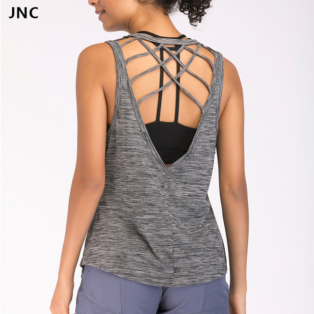 eb226300b2f Women s Sexy Yoga Shirts Backless Workout Top Shirts Open Back Tank Tops  Criss Cross Sleeveless Sports Orange fitness Blouse Top
