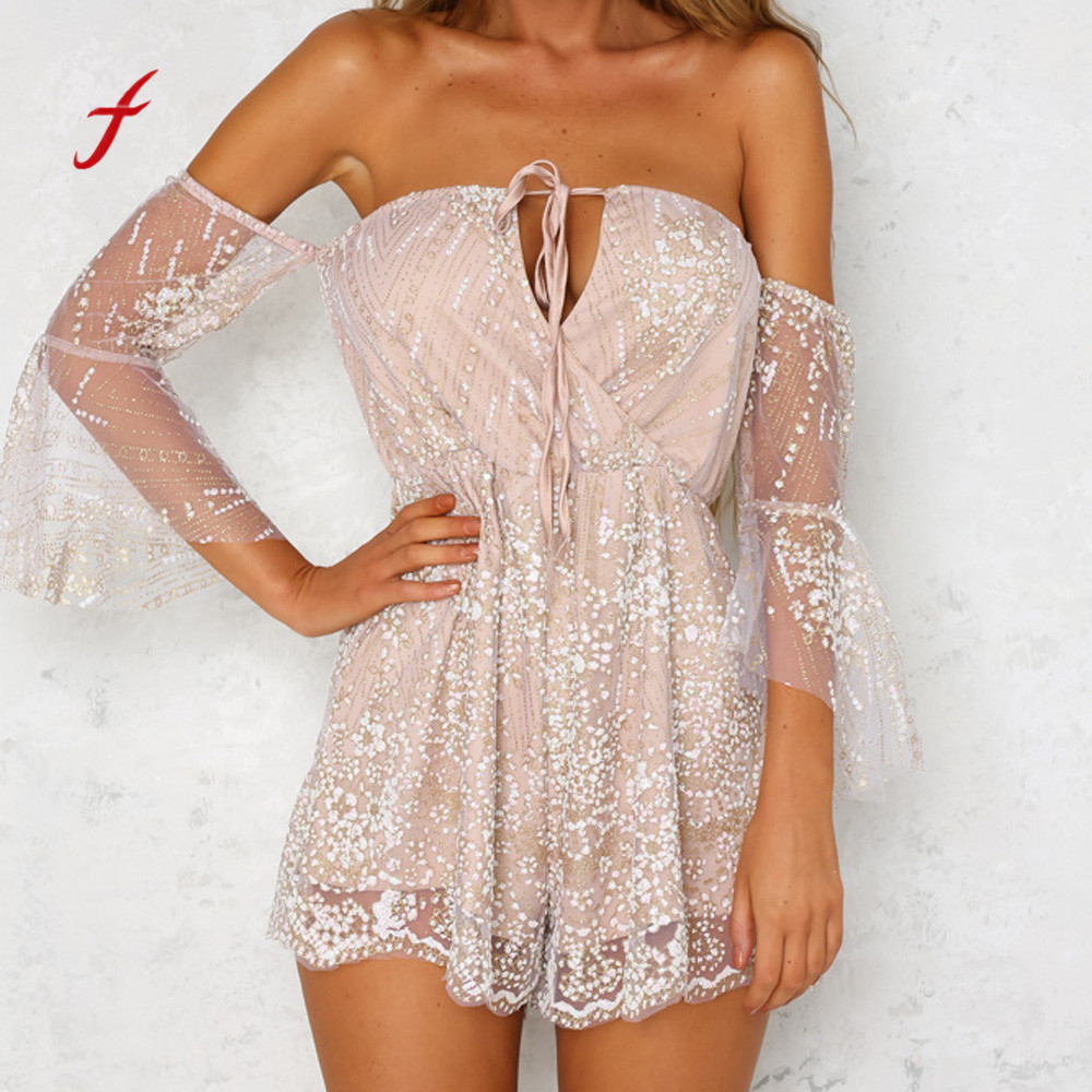 Feitong Strapless beach sequin playsuit Women sexy off shoulder v neck  jumpsuit Ladies summer backless long sleeve bodysuit