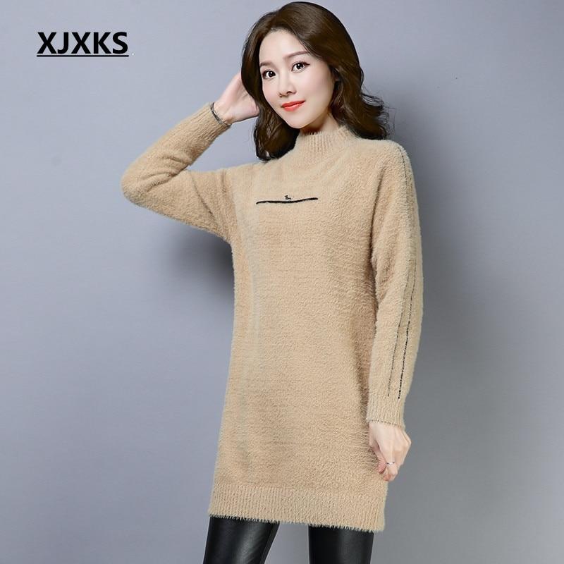 XJXKS women half turtleneck sweater long sleeve fuzzy comfortable korean style autumn and winter women pullover