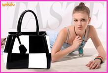 100% leather hit the color women handbag Europe and America spell color shoulder bags selling zipper bag large capacity 45