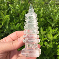 Natural Clear Crystal Wenchang Tower Crystal Tower Point Stone Mineral Healing Home Fengshui Decoration Collection