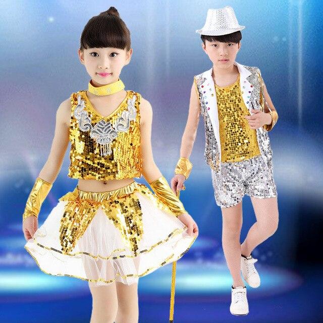 b5cfb4fc9 Girl boy Kids Jazz dance Outfit Clothing Children Boy Sequin Hip Hop ...