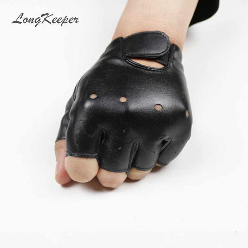 Gloves For Kids Boy Girls High Quality Leather Fingerless Gloves Children Half