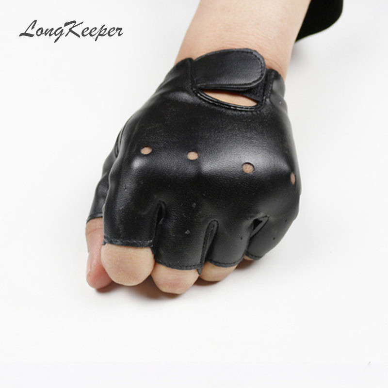High Qualtiy Leather Gloves For Kids Boy Girls Fingerless Gloves Chilidren Half Finger Mittens Breathable Black Gants Enfants