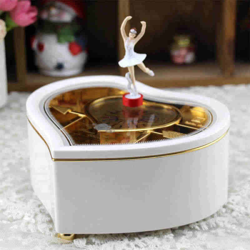 Heart Shape Dancing Ballerina Music Box Jewellery  Carousel Swivel Music Box Gift For  Girls D