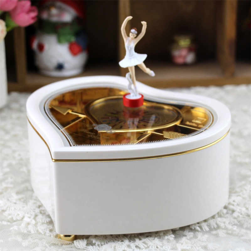 Heart Shape Dancing Ballerina Music Box Jewellery Carousel Swivel Music Box Gift For Girls D