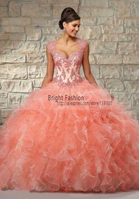 43f9571fd Vestidos De Quinceanera 2015 Coral Quinceanera Vestidos frisada Vestido De  baile Debutante 15 Anos