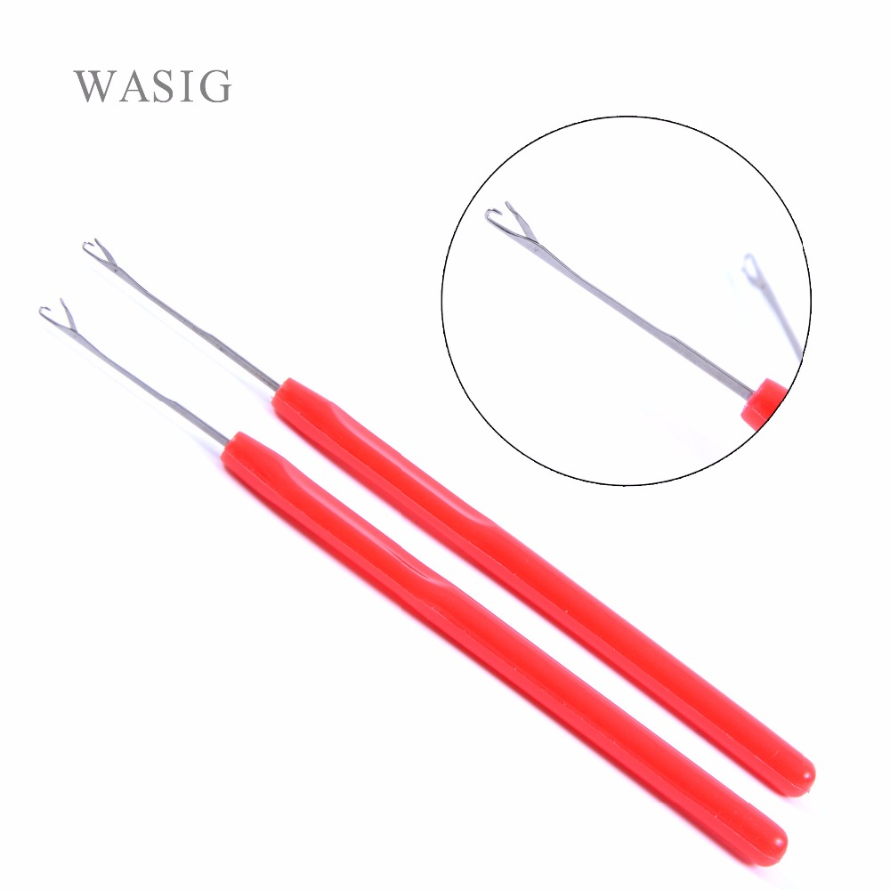 6pcs Red Color Plastic Handle Hook Needle Threader Loop Pulling Needle For Micro Hair Extensions Tools