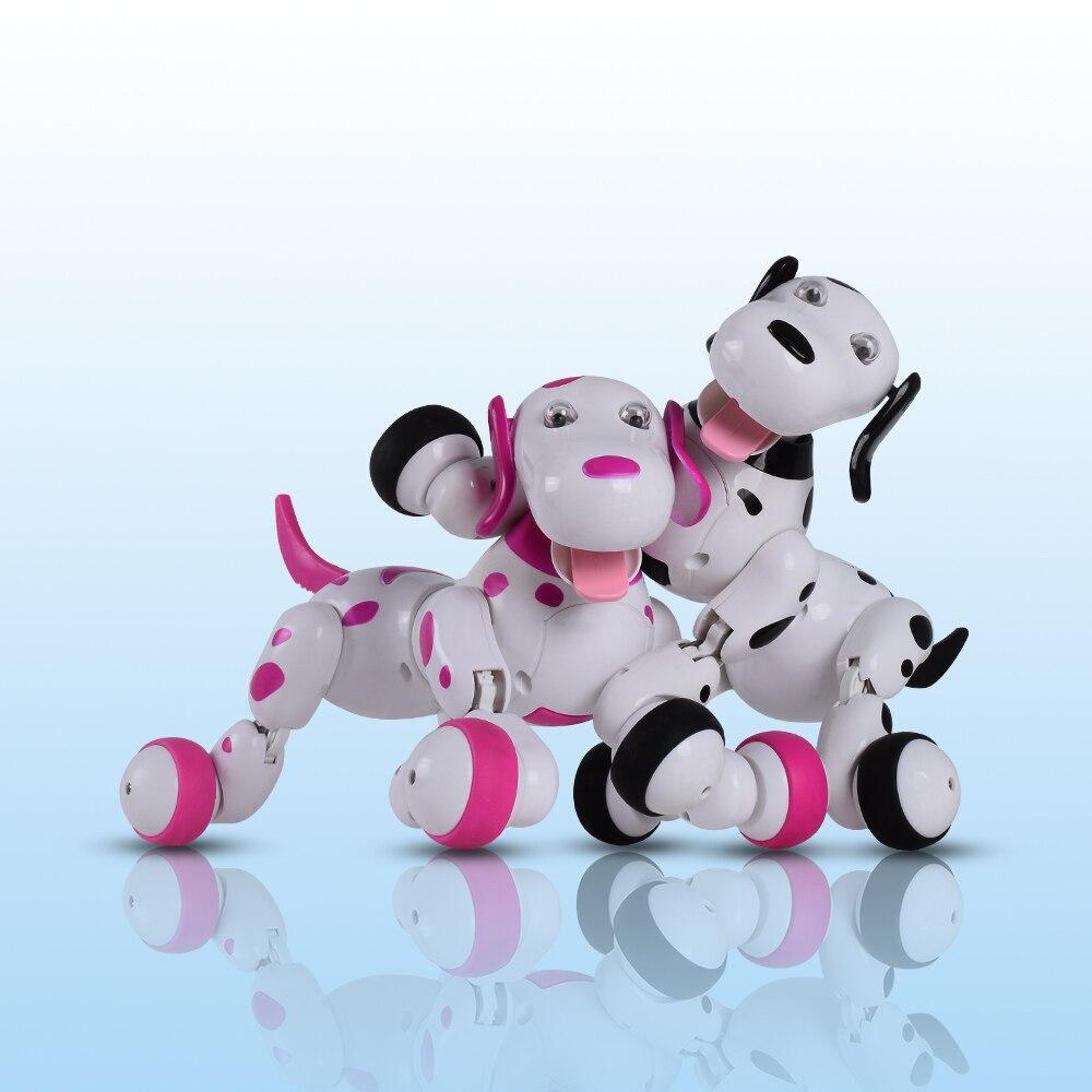 Belle 777-338 RC Robot Intelligent Chien 2.4g RC Simulation Intelligente Mini Chien Blanc Rose Pour Les Enfants De Noël cadeau
