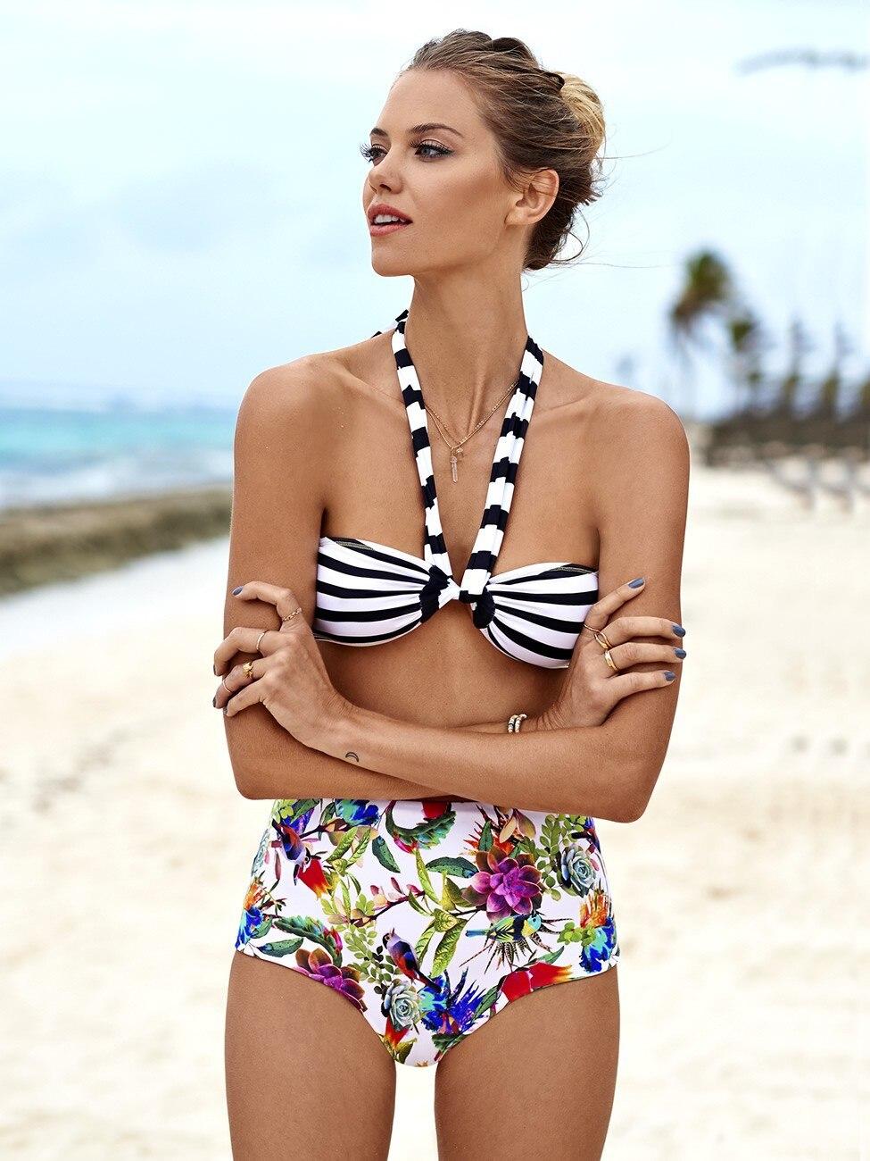 Style Women Striped Printed Strappy High Waist Bikini Swimsuit Hollow-Out Tankini Two Pieces Bathingsuit Beachwear Swimwear Wear