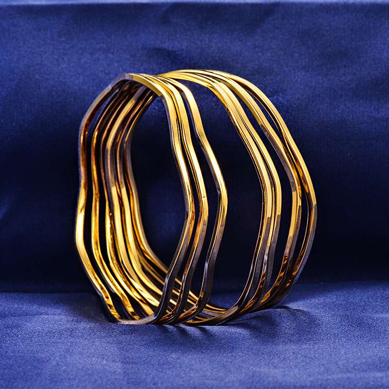 Fancy Wave Stainless Steel 7 Piece Set Gold Bangles Bracelets For ...