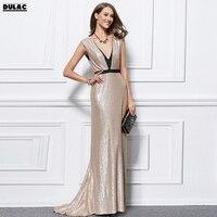 2018 European Women Fashion Sleeveless Deep V Neck Sequined Shiny Bling Bright Sexy Elegance Dinner Party Floor Length Dresses