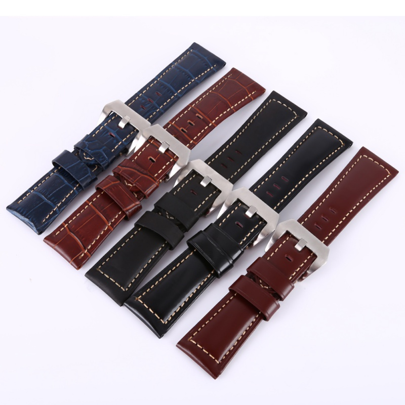 20 22 24 26mm Leather Watchbands Men Women Watch Band Strap for Belt Stainless Steel Buckle genuine horse leather watchbands men women italy watch band strap for panerai belt stainless steel buckle 20 22 24 26mm relogio