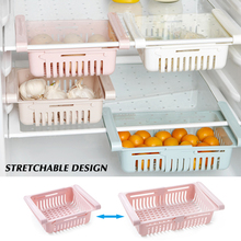 1PC Adjustable Stretchable Fridge Organizer Drawer Basket Refrigerator Pull-out Drawers Fresh Spacer Layer Storage Rack недорого