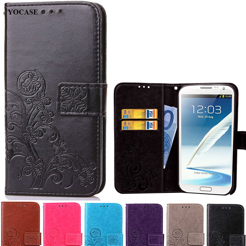 Note2 Luxury Wallet Style PU Leather Case For Cover Samsung Galaxy Note 2 N7100 Flip Phone Cases With Card Holder Stand Coque