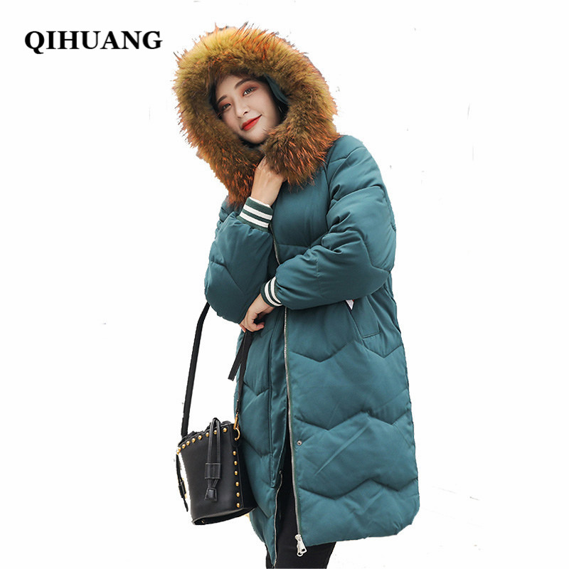 QIHUANG New Big Fur Collar Hooded Long   Down   Jacket Winter Women   Down     Coat   Fashion White Female Wadded Jacket Warm Outwear   Coat