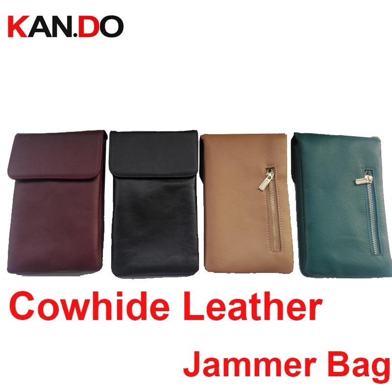 Cowhide Genuine Leather Car Key Sensor Jammer Bag Card Anti-Scan Sleeve Bag Signal Isolator Jammer Phone Signal Blocker Bag