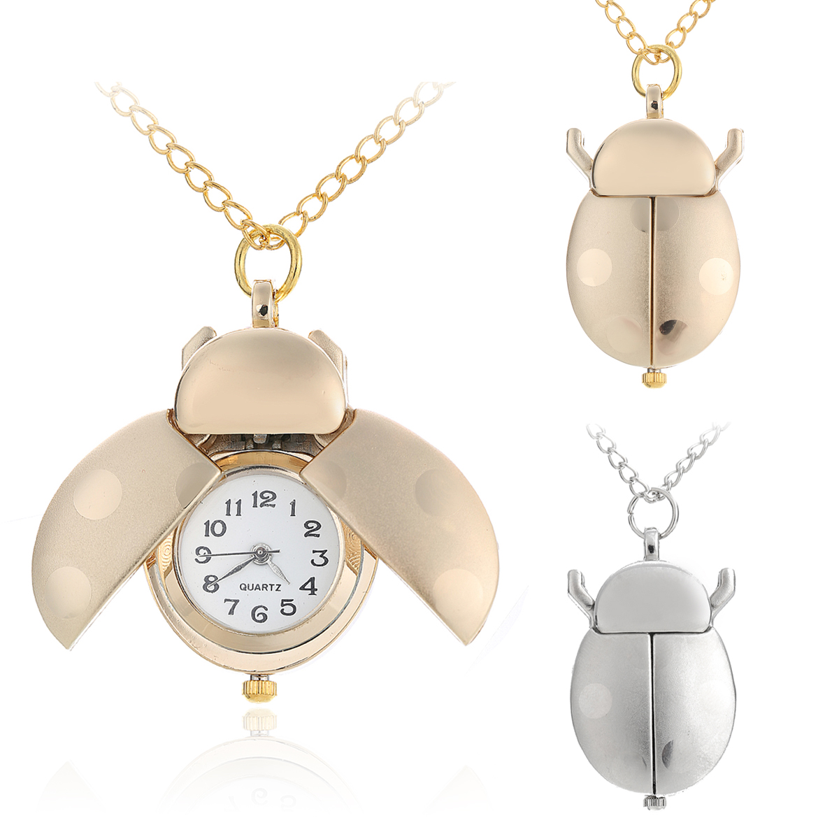 Gold/Silver Beetle Pocket Watch Womens Girl Small Animal Necklace Pendant Quartz Shellhard Ladybug Fob Pocket Watch with Chain big g quartz pocket watch lot with metal pocket necklace leather chain box bag p446ckwb