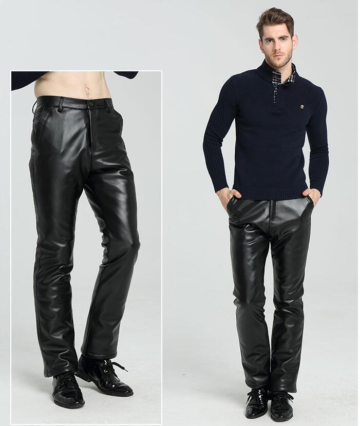 8b0971e30286e3 Uomini Il Pantaloni Nero Faux Inverno Dei Dell'unità Piedi Pelle  Elaborazione Per Spessore Più Gli ...