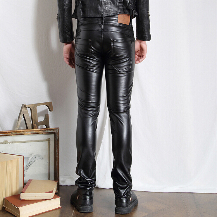 Mens Black Leather Pants mens tights pants Faux Leather Pu sexy Black Color Motorcycle Skinny Faux Leather Pants For Men