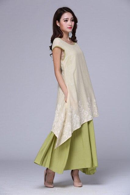 914e1b00b2c Vintage mexican Embroidered Cotton Linen Women Dress Women Clothing Casual  Loose Long Boho Maxi Dress Summer