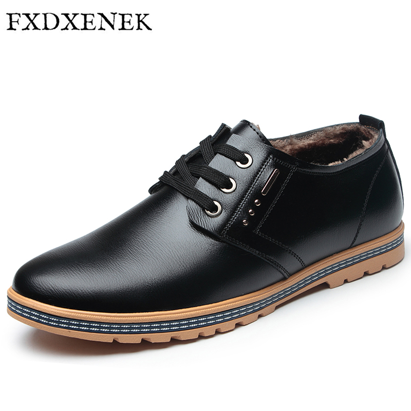 FXDXENEK High Quality Men Leather Shoes British Style Handmade Flats OxfordsWith Plush Warm Winter Lace Up Flat Men Casual Shoes full grain leather men leather shoes top quality men flats shoes handmade men casual shoes for men