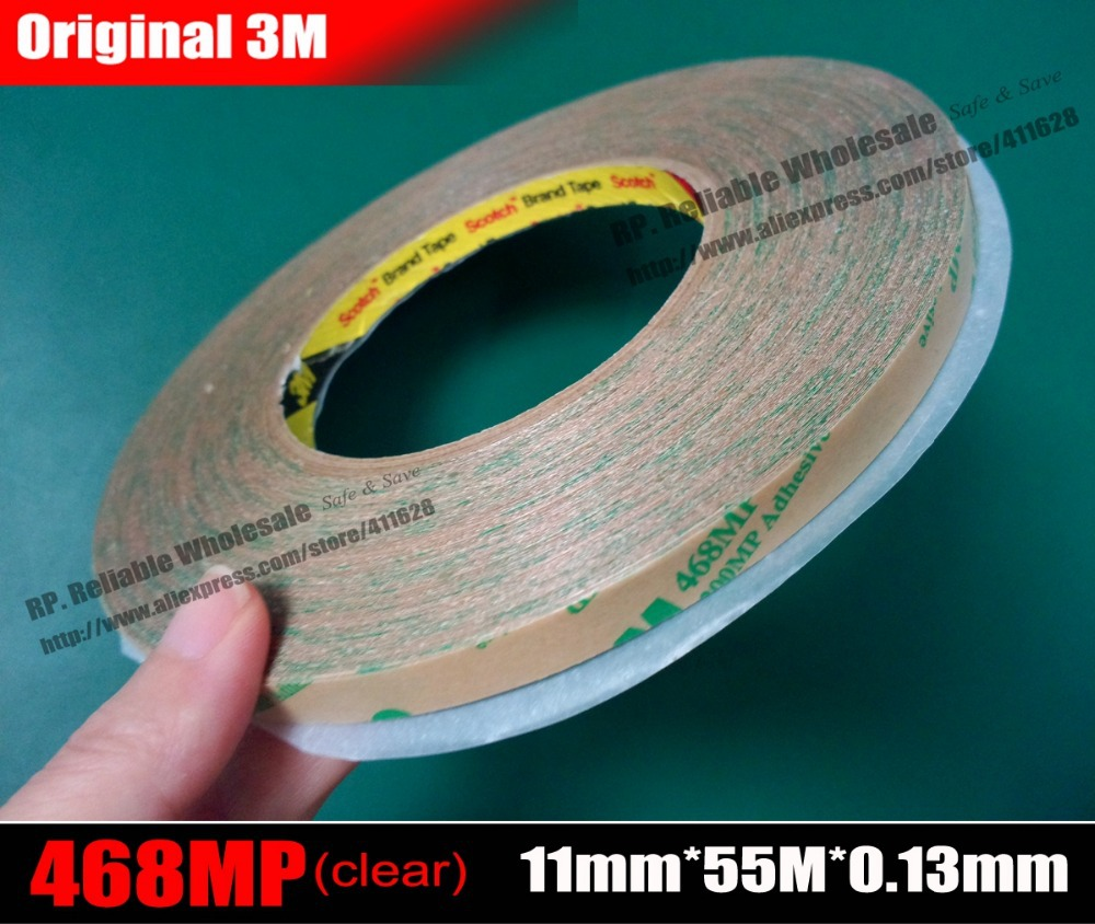 (11mm * 55 Mt * 0,13mm), Original 3 Mt <font><b>468MP</b></font> Klar Double Klebeband, Hochtemperatur Wider für Laptop Tablet Telefon Typenschild image