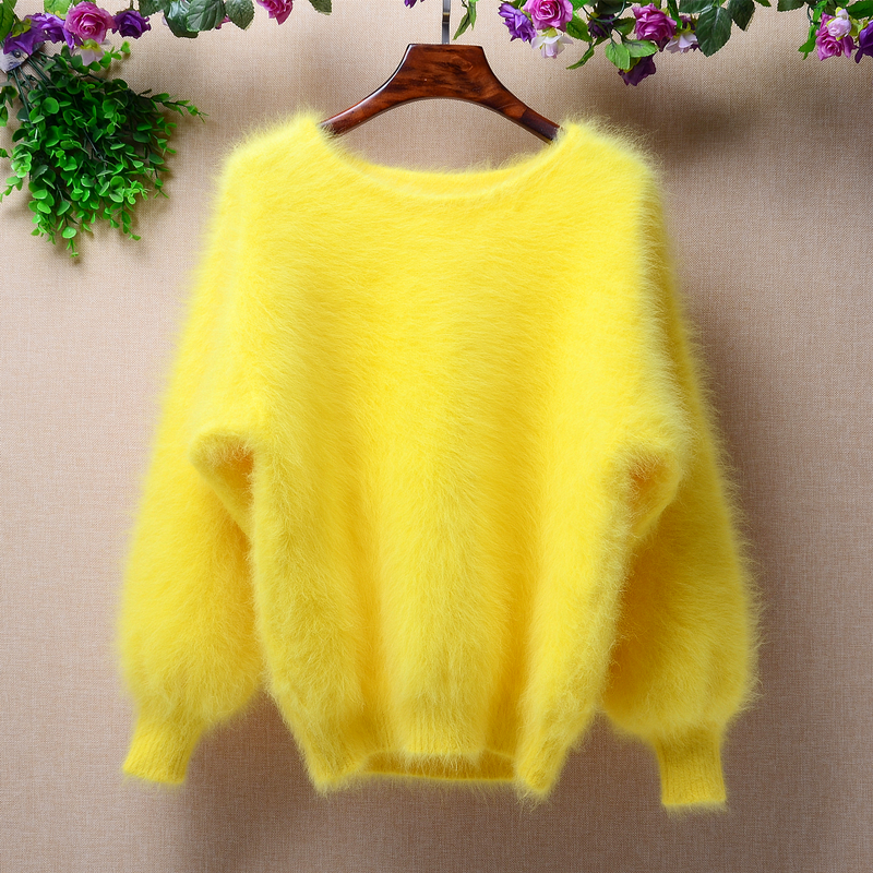 Elegant Fashion Fluffy Short Women Winter 100% Long Mink Cashmere Angora Fur Warm Lantern Batwing Long Sleeves Pullover Sweater