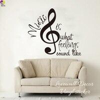 A música É O Sentimento de Som Como Citação Adesivo De Parede Bebê berçário Sala de Música Nota Inspiração Citação Decalque de Vinil Em Casa decoração