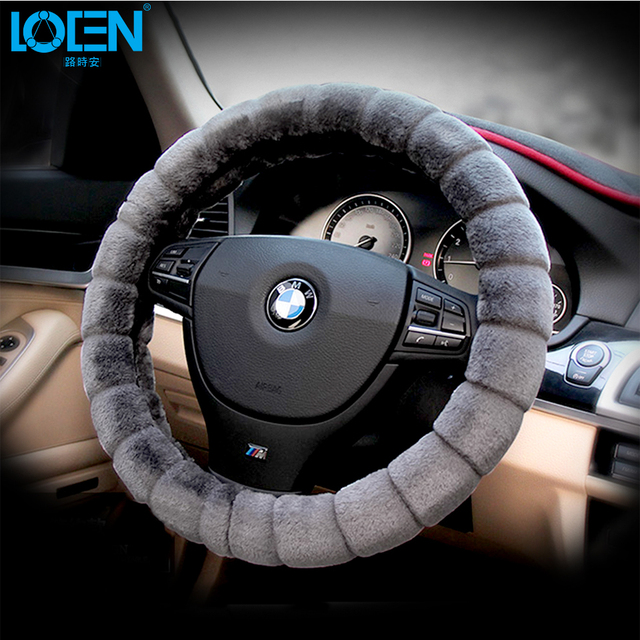 High Quality Premium Warm Wool Plush Car Steering Wheel Cover Pure Woolen Winter Fur Anti-slip Universal Styling Free shipping