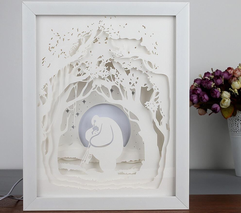 Usb colorful 3d paper cut tree picture frame shadow night light usb colorful 3d paper cut tree picture frame shadow night light for wedding baby shower party birthday favor gift souvenirs in party favors from home jeuxipadfo Choice Image