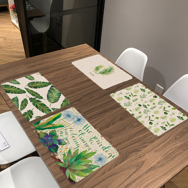 Hot Sale Monstera Green Plant Printed Table Napkins For Wedding Mats Bowl Dining Mats Kids Table Set Home Decoration Accessories