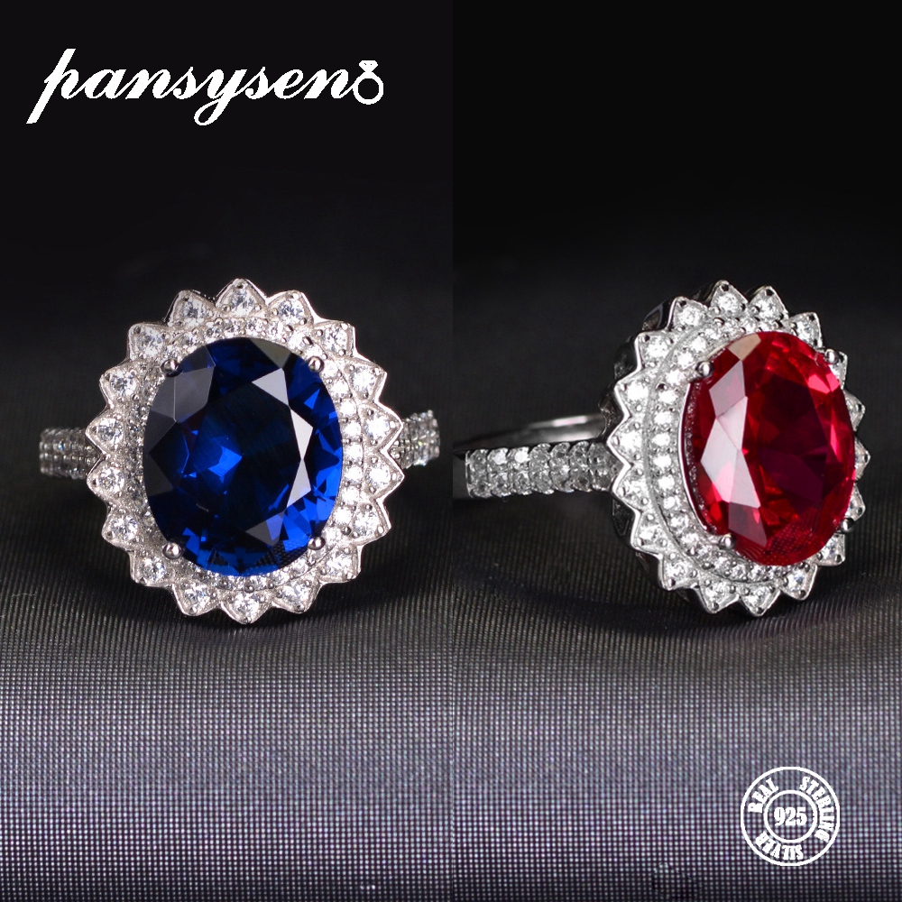 PANSYSEN Natural Sapphire Ruby Wedding Ring Luxury Real 925 Sterling Silver Opening Adjustable Rings For Woman Anniversary Gift