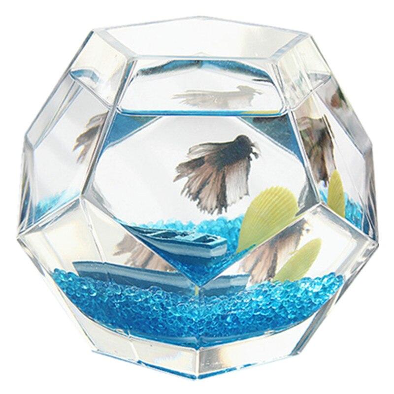 Réservoir de poissons bols avec décorations polyèdre verre Mini Aquarium maison bureau poisson élevage boîte fait main bureau Aquarium Aquario