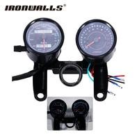 Ironwalls Motorcycle Speedometer Tachometer Odometer Speed Meter Universal Tacho Gauge Bracket 12V For Cafe Racer Harley
