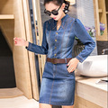 2016 New autumn Fashion Denim Dress One Step Dress Dress Denim