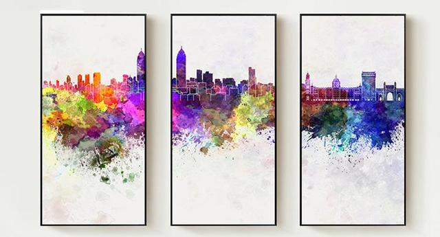 abstract city skyline watercolor cityscape map silhouet wall art