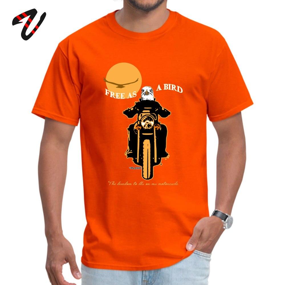 Free as a bird Funny Summer 100% Cotton Round Neck Boy Tops T Shirt Camisa Top T-shirts Cute Short Sleeve T-Shirt Free as a bird -2283 orange