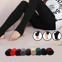 289fc42d0 Women s Autumn Winter Thick Warm Legging Trample Feet Leggings Female Solid Color  Leggings Brushed Lining Stretch Fleece Pants