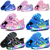 LED Flashing Single Double Roller Skate Shoes Invisible Automatic Pulley Roller Shoes Luminous Sneakers Women Light Up Shoes
