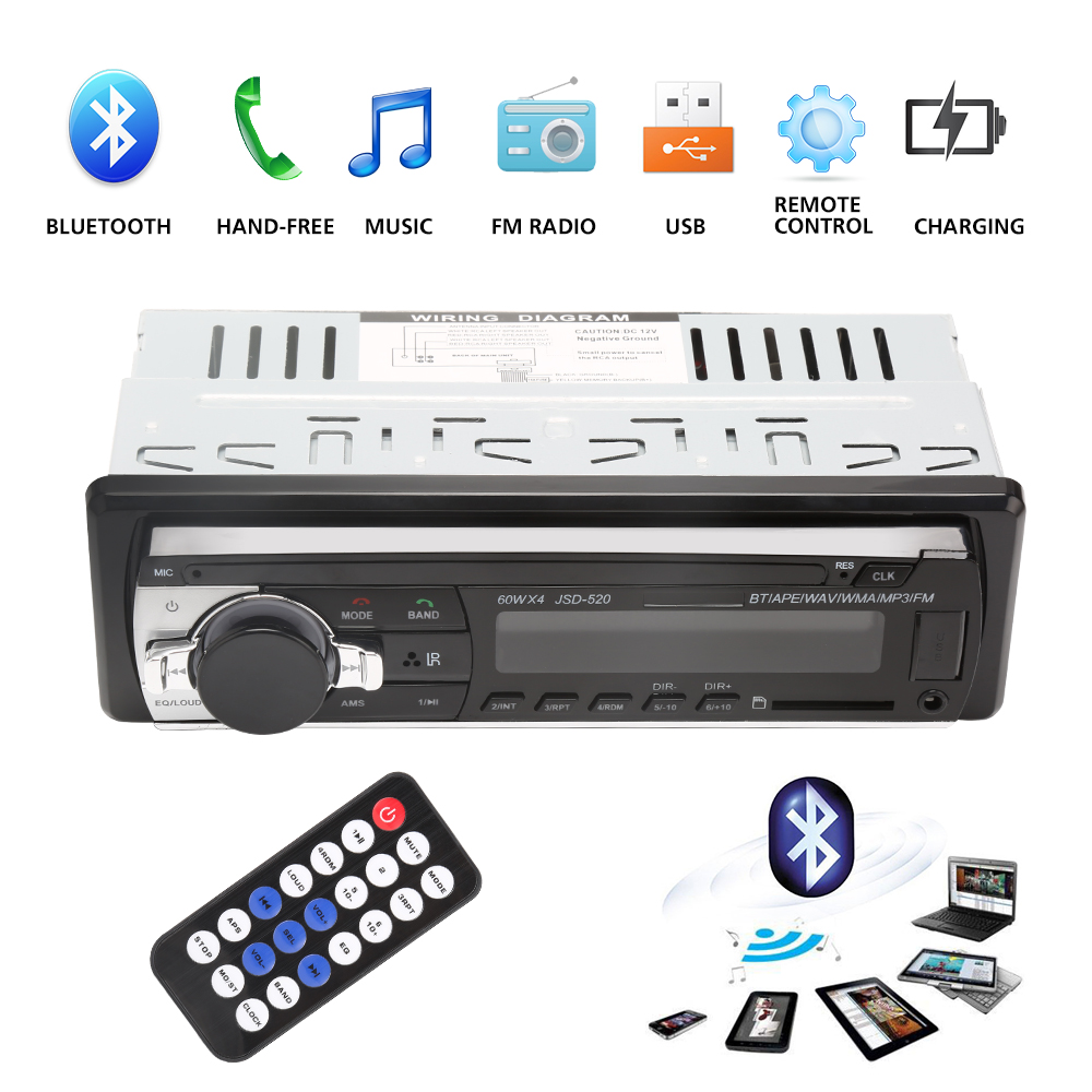 цена на Bluetooth V2.0 JSD-520 Stereo Autoradio Car Radio 12V In-dash 1 Din FM Aux Input Receiver SD USB MP3 MMC WMA Car Audio Player