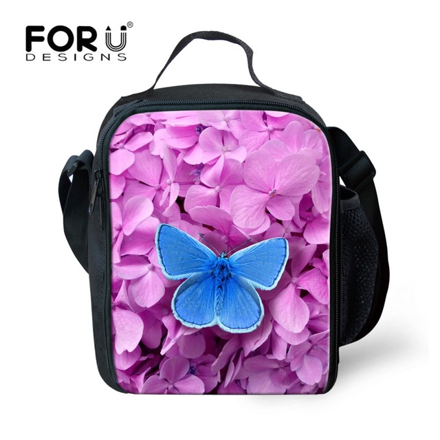66c7194e5409 US $16.05 27% OFF|FORUDESIGNS Butterfly 3D Printing Small Lunch Bag for  Kids Girls Travel Storage Insulated Thermal Bag School Picnic Food Tote-in  ...