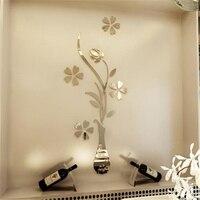 2017 Nowy Sliver Złoty Lustro naklejki ścienne salon wejście strona główna dekoracje ścienne lustro kwiat Wazy plum lustro Akrylowe 3d naklejki