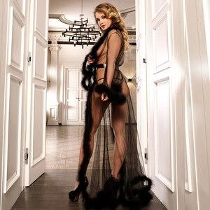 Image 2 - Della Biancheria del merletto Robe Lungo Sheer Plus Size Vestito Sexy Delle Donne Bambolette Trasparente Dessous Sexy Hot Erotic Biancheria Intima Con Pelliccia R80759