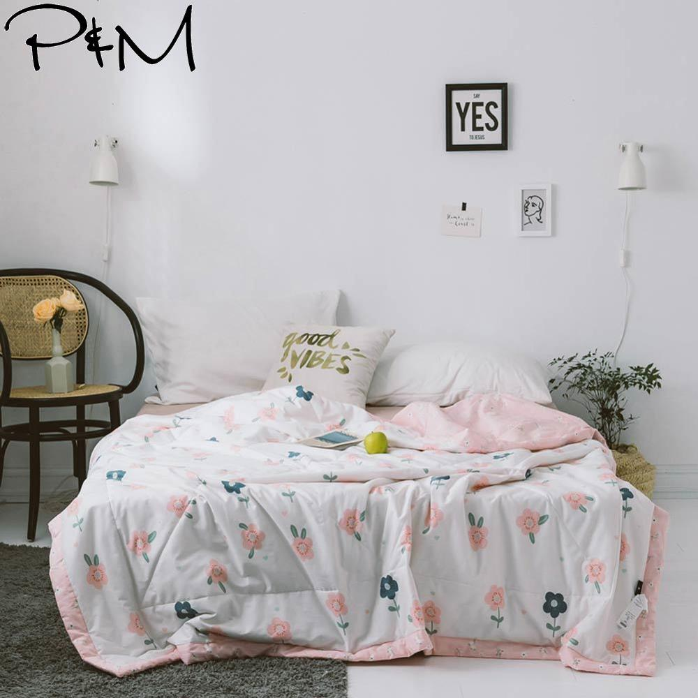 2019 INS Pink Green Flowers Stitching Comforter Summer Quilt  Twin Full Queen Size Bedspread Cotton Fabric Quilting Blanket2019 INS Pink Green Flowers Stitching Comforter Summer Quilt  Twin Full Queen Size Bedspread Cotton Fabric Quilting Blanket