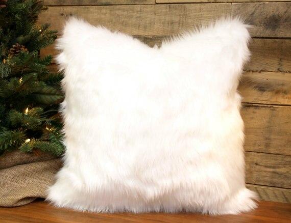 Faux Fur Pillow Cover Winter White Throw Pillow, Chenille Accent ,Decorative Pillow 20 x ...